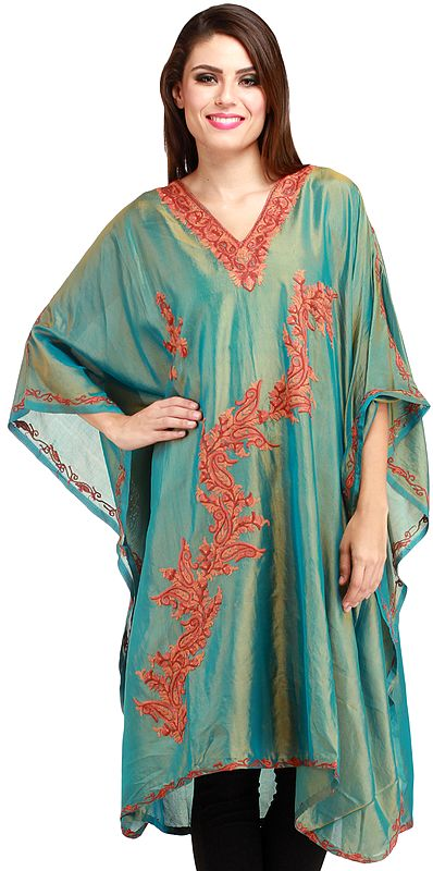 Oil-Green Kashmiri Short Kaftan with Ari Hand-Embroidered Paisleys