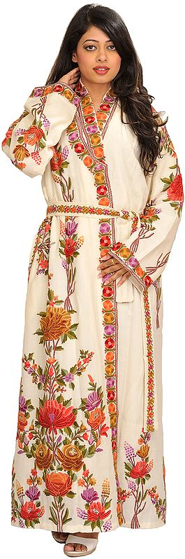 Ivory kashmiri Robe with Ari Hand-Embroidered Flowers in Multi-color Thread