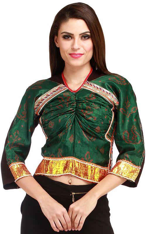 Foliage-Green Backless Choli from Kutch with Bandhani Print and Gota Border