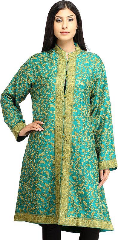 Tropical-Green Kashmiri Long Jacket with Ari Hand-Embroidered Paisleys All-Over