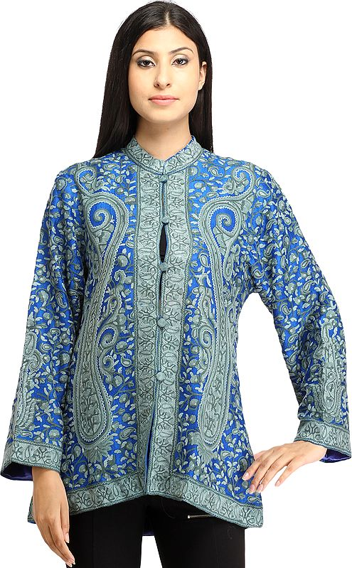 Imperial-Blue Jacket from Kashmir with Ari Hand-Embroidered Paisleys All-Over