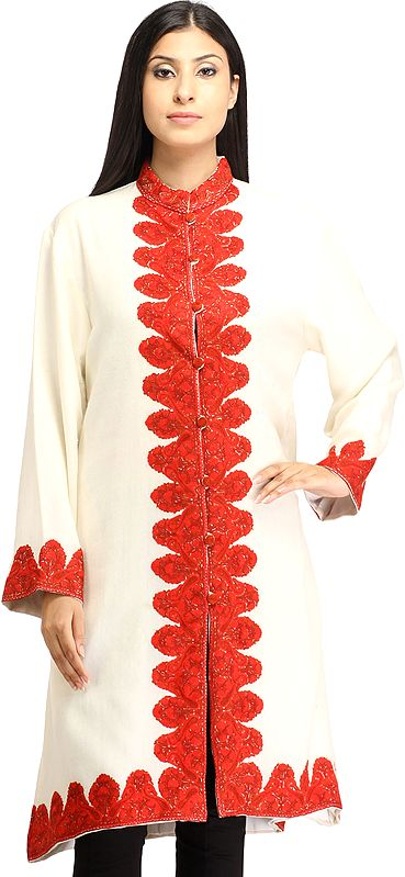 Ivory and Red Long Jacket from Kashmir with Ari Hand-Embroidery on Border