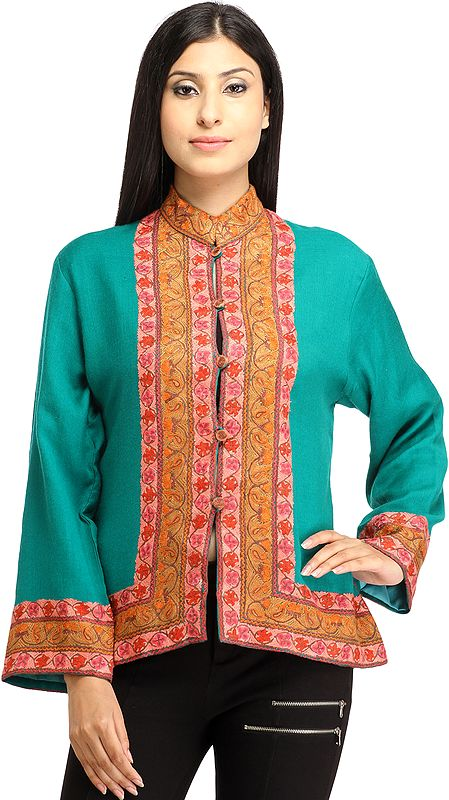 Viridian-Green Ari Kashmiri Short Jacket with Floral Hand-Embroidered Border