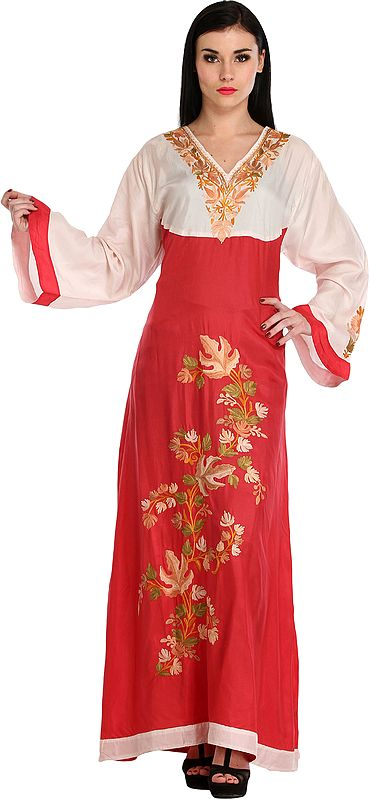 Cream and Red Gown from Kashmir With Ari-Embroidered Maple Leaves