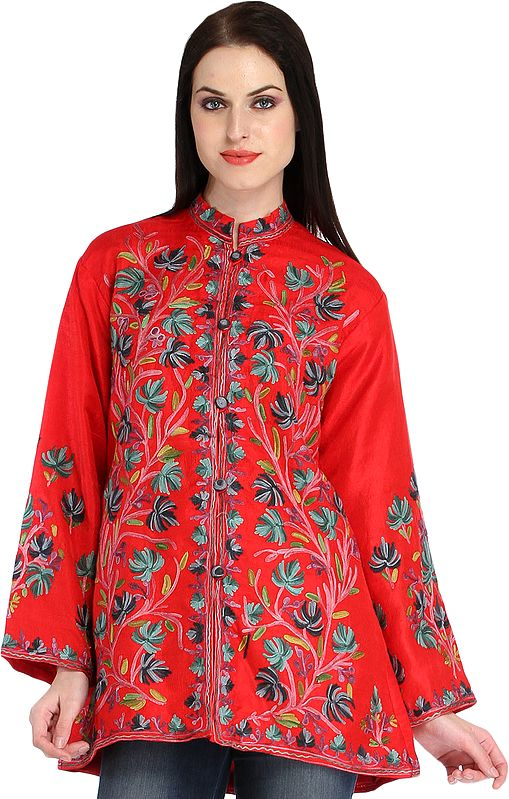 Bittersweet-Red Jacket from Kashmir with Ari Hand-Embroidered Chinar Leaves
