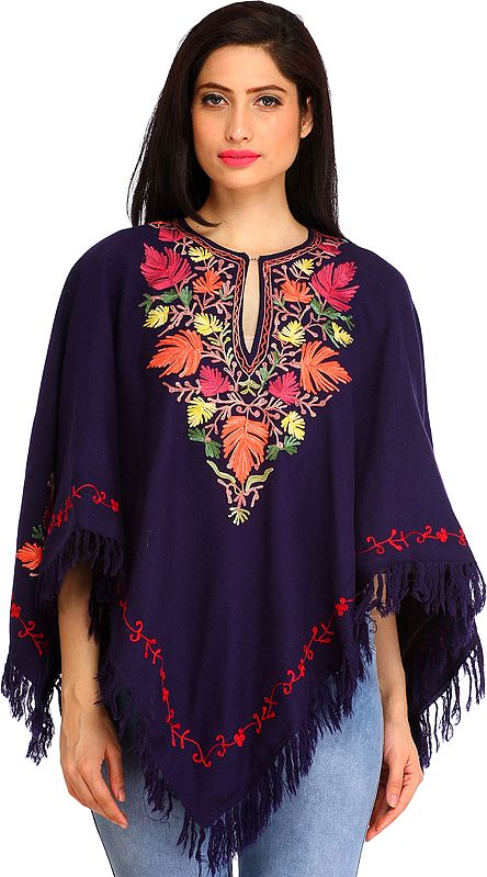 Patriot-Blue Poncho from Kashmir with Ari-Embroidered Maple Leaves