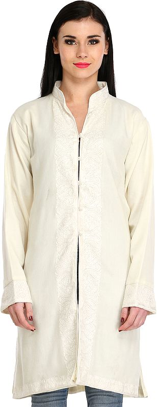 Ivory Jacket from Kashmir with Ari Hand-Embroidered Paisleys on Border