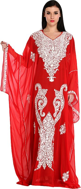 Chinese-Red Two Piece Gown from Kashmir with Ari-Embroidered Paisleys