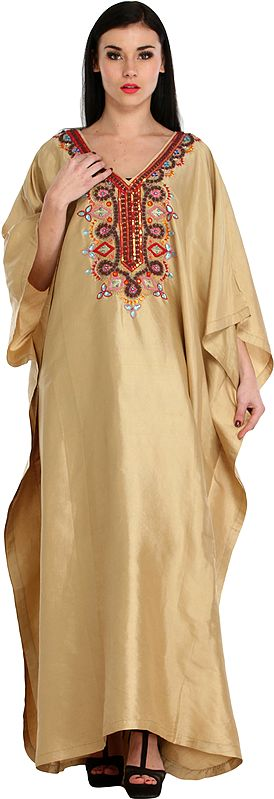 Sea-Mist Kaftan from Kashmir with Embroidered Beads and Stone-work on Neck
