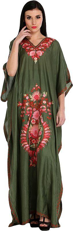 Capulet-Olive Ari Embroidered Kaftan from Kashmir