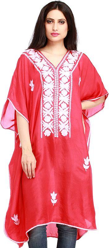 Virtual-Pink Ari Embroidered Short Kaftan from Kashmir