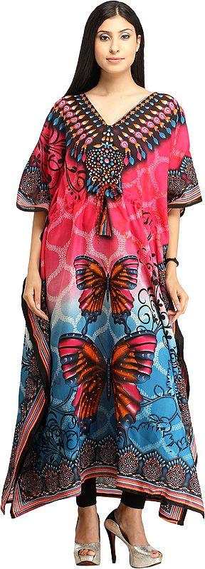 Butterflies Digital-Printed Kaftan with Dori at Waist