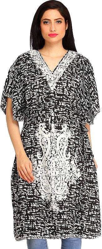 Black and White Printed Kaftan from Kashmir with Ari-Embroidered Paisleys