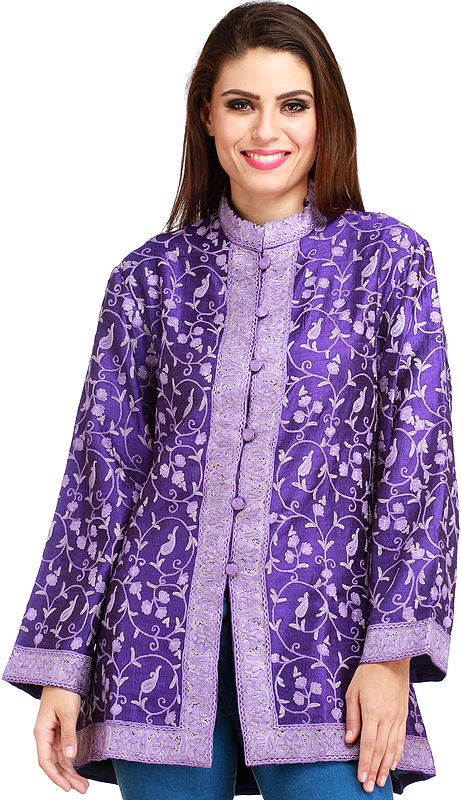 Deep-Ultramarine Jacket from Kashmir with Ari Hand-Embroidery All-Over