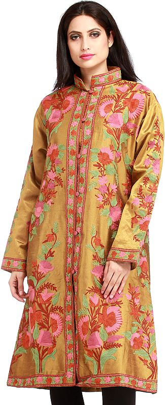 Mustard-Gold Jacket from Kashmir with Ari Hand-Embroidered Flowers
