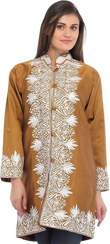 Bone-Brown Jacket with Ari-Embroidered Paisleys on Border