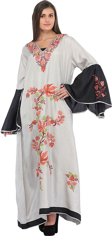 Silver and Black Butterfly Gown from Kashmir with Ari-Embroidered Maple Leaves