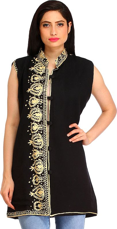 Jet-Black Ari Embroidered Jacket from Amritsar