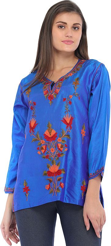 Imperial-Blue Ari Short Kurti from Kashmir with Floral Hand-Embroidery