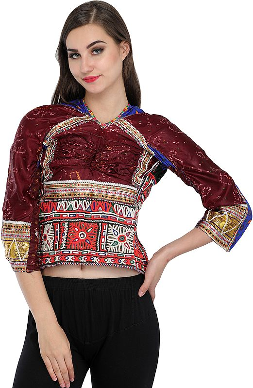 Chocolate Brown Backless Choli from Kutch with Antiquated Rabari Embroidery and Bandhani Print