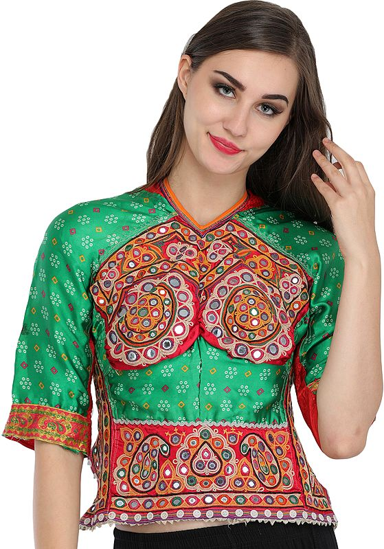 Green and Red Backless Choli from Kutch with Antiquated Rabari Embroidery and Bandhani Print