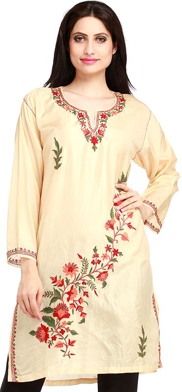 Alomond-Oil Kurti from Kashmir with Ari-Embroidery by Hand