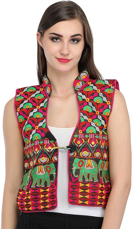 Black Phulkari Embroidered Short Waistcoat from Punjab