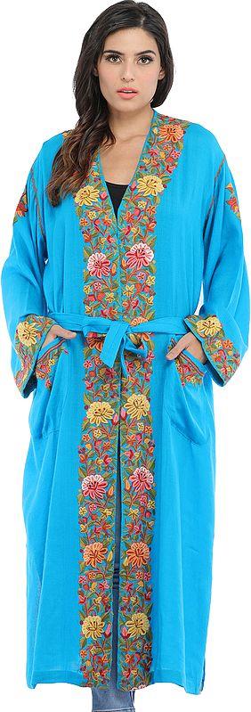 Cyan-Blue Kashmiri Robe with Ari Hand-Embroidered Flowers
