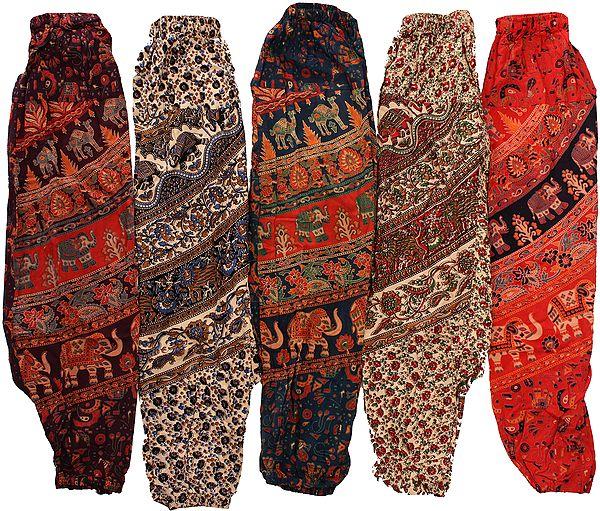 Lot of Five Sanganeri Printed Casual Trousers