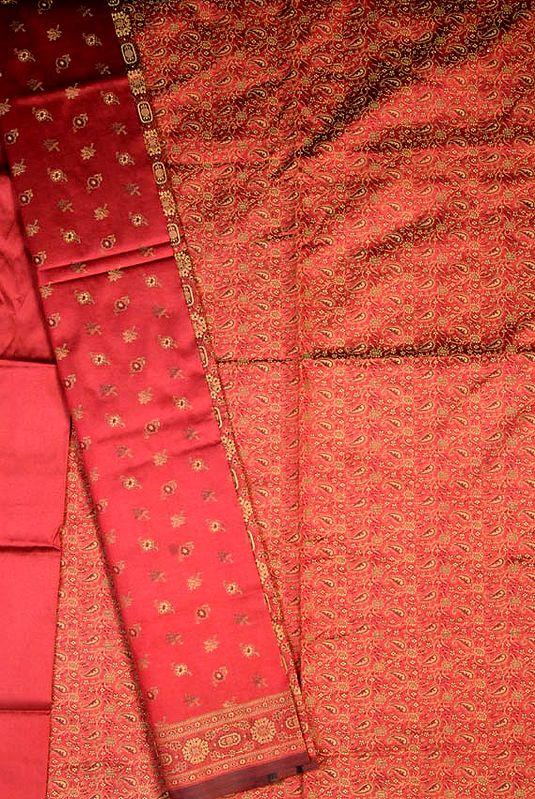 Burgundy Banarasi Suit with All-Over Brocade Weave
