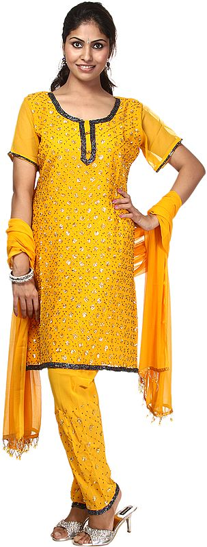 Amber Chudidar Kameez with Embroidered Sequins and Beads