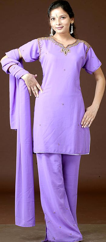 Amethyst Parallel Salwar Suit with Antique Embroidery on Neck