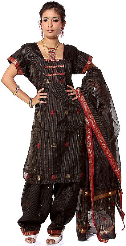 Black Chanderi Suit Fabric with Pin Stripes Woven in Golden Thread
