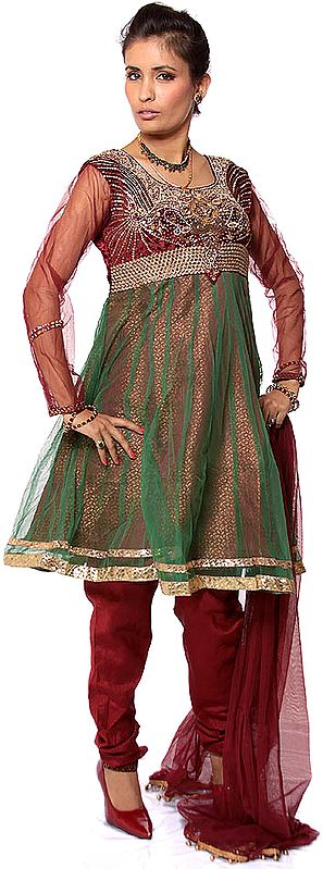 Maroon Wedding Anarkali Suit with Heavy Beadwork on Bust