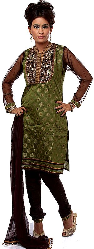 Green Brocaded Chudidar Suit with Antique Embroidery at Neck