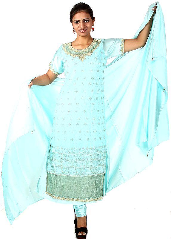 Aqua-Sky Designer Long Chudidar Suit with Zardozi Work on Kameez and Satin Choodidaar