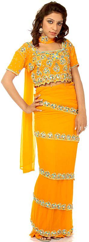 Amber Sari-Style Lehenga Choli with Beads Embroidered as Flowers