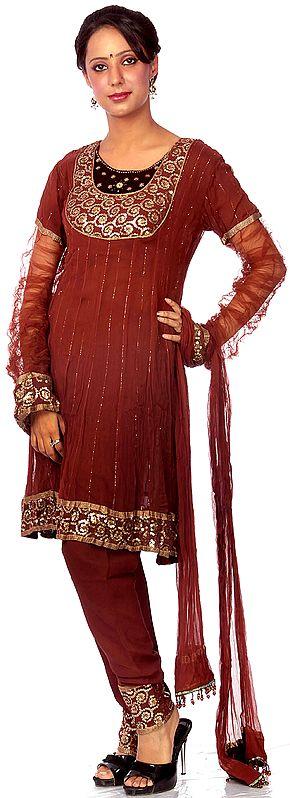 Brown Flared Chudidar Salwar Kameez with Embroidered Sequins