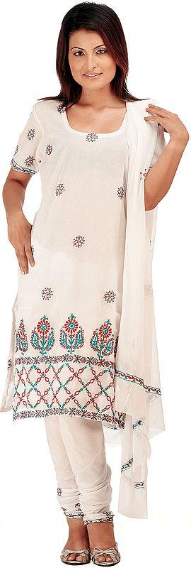 White Choodidaar Suit with Lukhnavi Chikan Embrodiery on Kameez