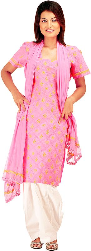 Pink Salwar Kameez Suit with Lukhnavi Chikan Embroidery
