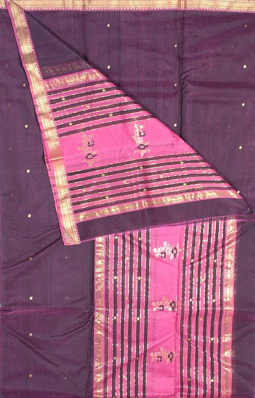 Purple Chanderi Suit with Large Bootis