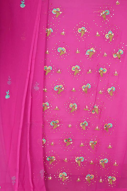 Very-Berry Fuchsia Georgette Suit with Sequins and Parsi Embroidery