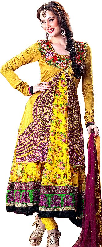Bamboo-Yellow Wedding Anarkali Suit with Floral Print and Crewel Embroidery