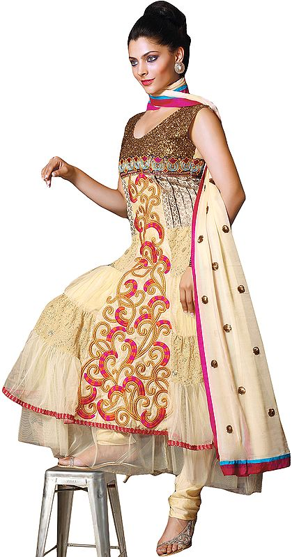 Banana-Crepe Flared Kameez and Chudidar Suit with Ari Embroidery All-Over