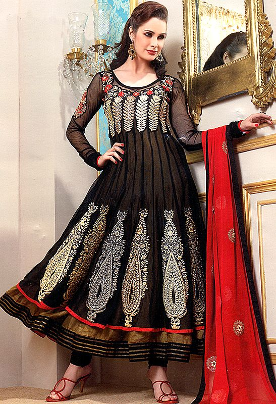 Beetle-Green and Black Flared Kameez and Chudidar Suit with and Gota Patch Border