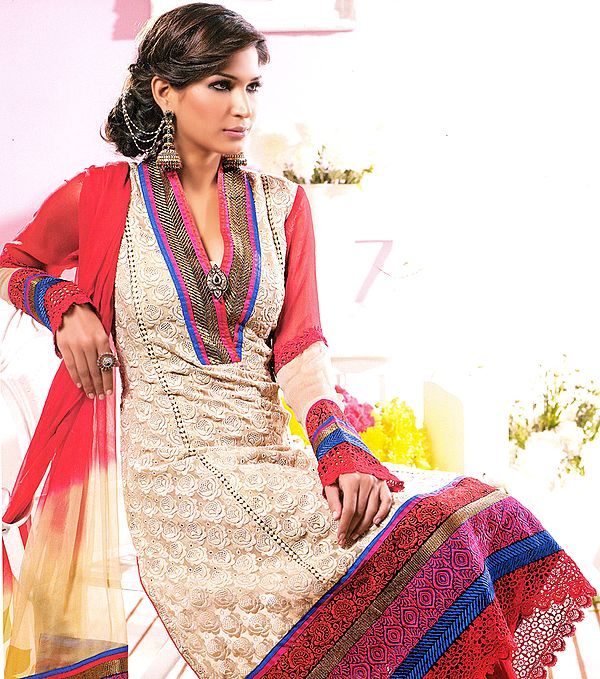 Beige Designer Chudidar Kameez Suit with All-Over Floral Embroidery in Self and Patch Border