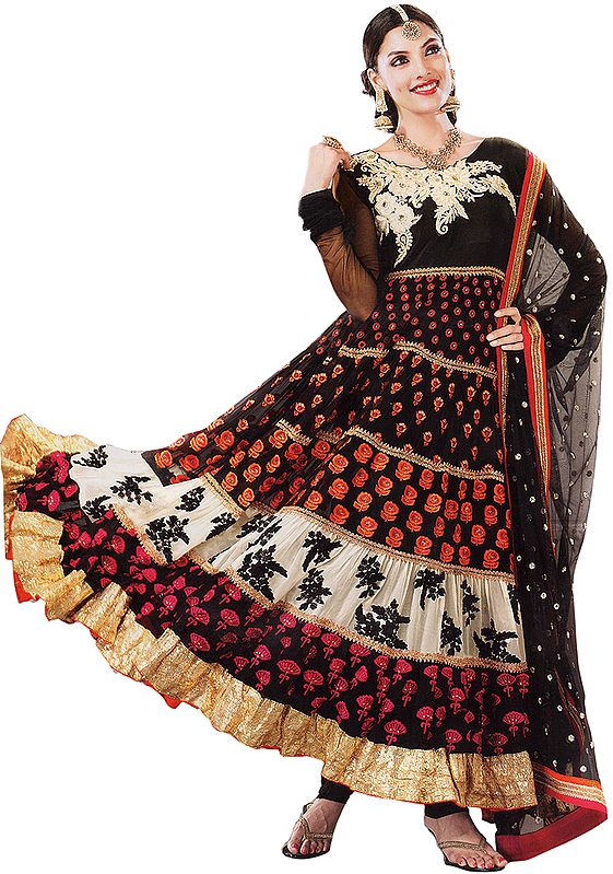 Black and Ivory Wedding Anarkali Suit with Floral Embroidery and Sequins
