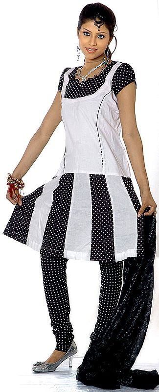 Black and White Polka Dotted Suit with Flaired Kameez