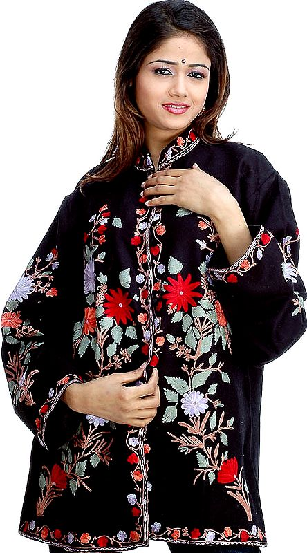 Black Ari Jacket with Large Flowers