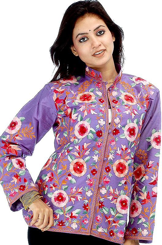 Blue Kashmiri Jacket with Embroidered Flowers All-Over